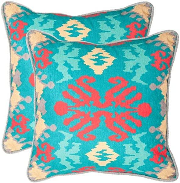 Safavieh Pillows Collection Rye Decorative Pillow 20 Inch Aqua And Red Set Of 2