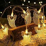 OKESYO Cadena de luces para exteriores, solar, fantasmas, bat, araña, calabaza, guirnaldas de luces para Halloween, decoración exterior, uso de vacaciones, cadenas luminosas