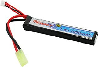 Tenergy 7.4V LiPo Airsoft Battery 1000mAh 20C Stick Battery Pack with Mini Tamiya Connector for Airsoft Guns M4, AK47, G36, RPK, PKM, L85 (Optional Charger)