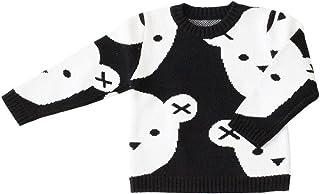 ZooArts 子供服 ベビー キッズ 男女兼用 ニット セーター 女の子 男の子 秋冬 かわいい 子熊柄 トップス 長袖 丸い襟 ファッション おしゃれ 黒白