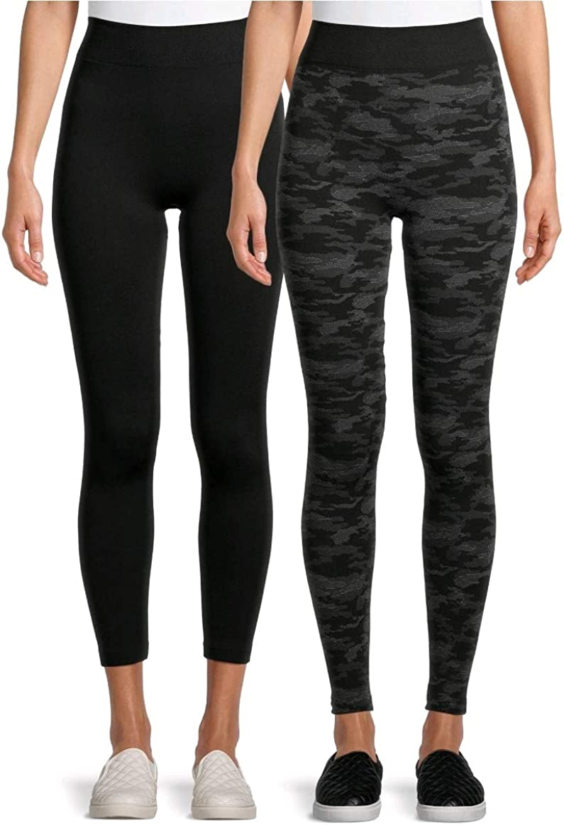 Time and Tru Camo Grey & Black Soot 2 Pack Cable Knit Fleece Lined Leggings