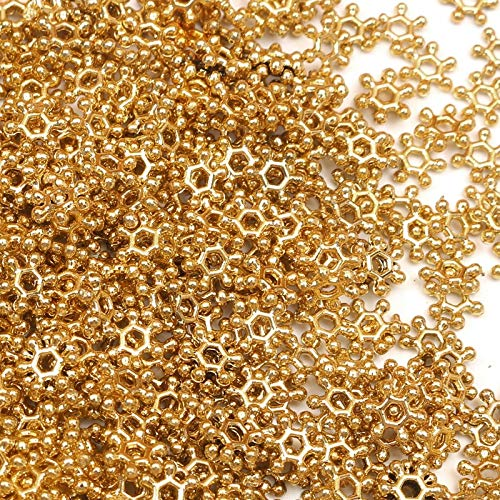 KUQIQI 2000Pcs Golden Snowflake Acrylic Beads For Jewelry Marking Loose Spacer Beads Bracelet Necklace Charm Jewelry Finding 6-12mm (Size : 12mm 200Pcs)