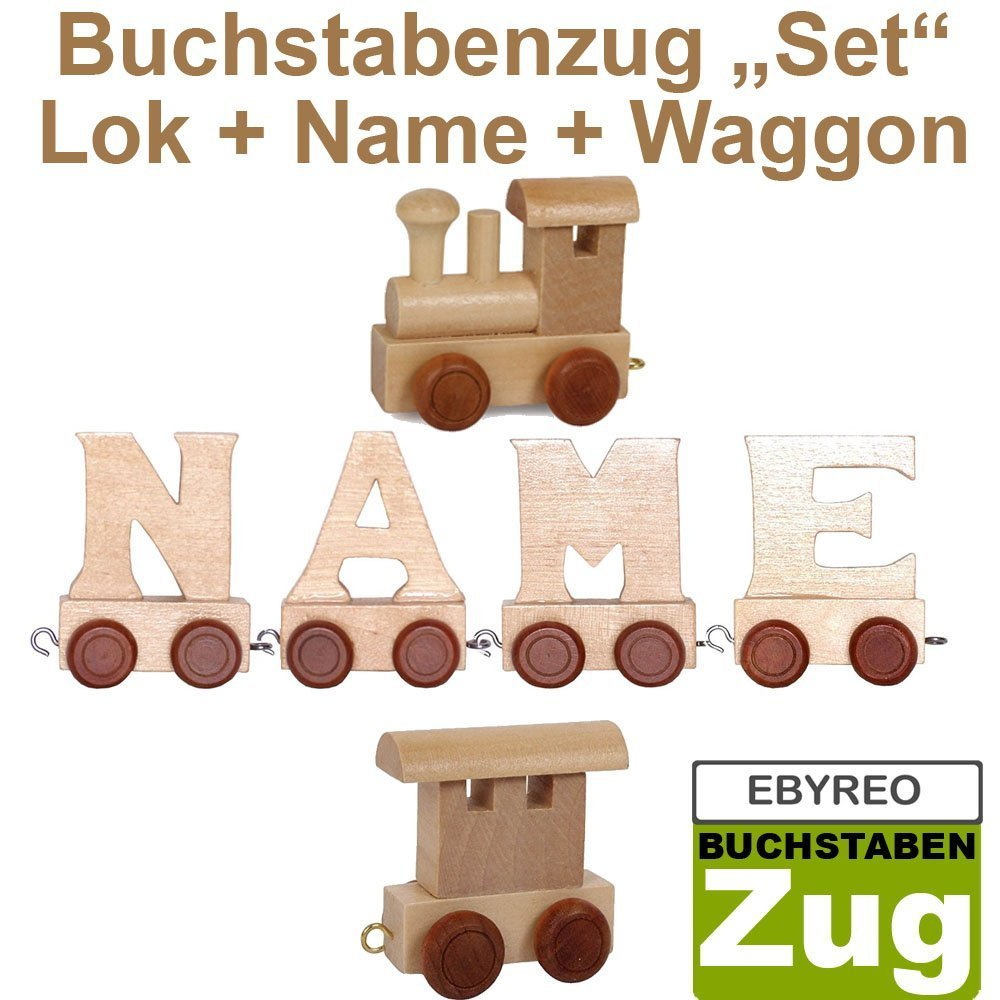 Taufgeschenk personalisierbar Geschenk zur Geburt Buchstabenzug Namens-Set Lok Azad Geschenk zu Einschulung Azad EbyReo/® Namenszug aus Holz Endwaggon