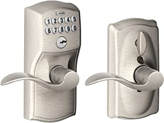 Schlage FE595VCAM619ACC Camelot Keypad  Entry with Flex-Lock and Accent Levers,  Satin Nickel