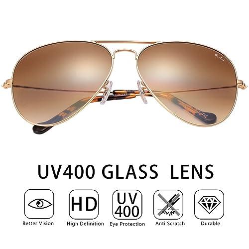 46bbcb18a0 O-LET Aviator Sunglasses for Women Men Fishing Driving UV400 Glass Lens  Aviators