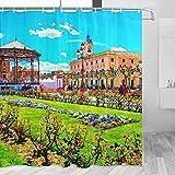 Spain Arzobispo Palace Alcala De Henares Cortina de ducha de viaje Decoración de baño Set con ganchos Poliéster 72x72 pulgadas (YL-05235)