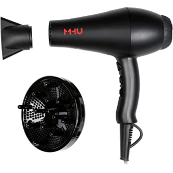 MHU Professional Salon Grade 1875w Low Noise Ionic Ceramic Ac Infrared Heat Hair Dryer Plus One Concentrator and One Diffuser Black Color