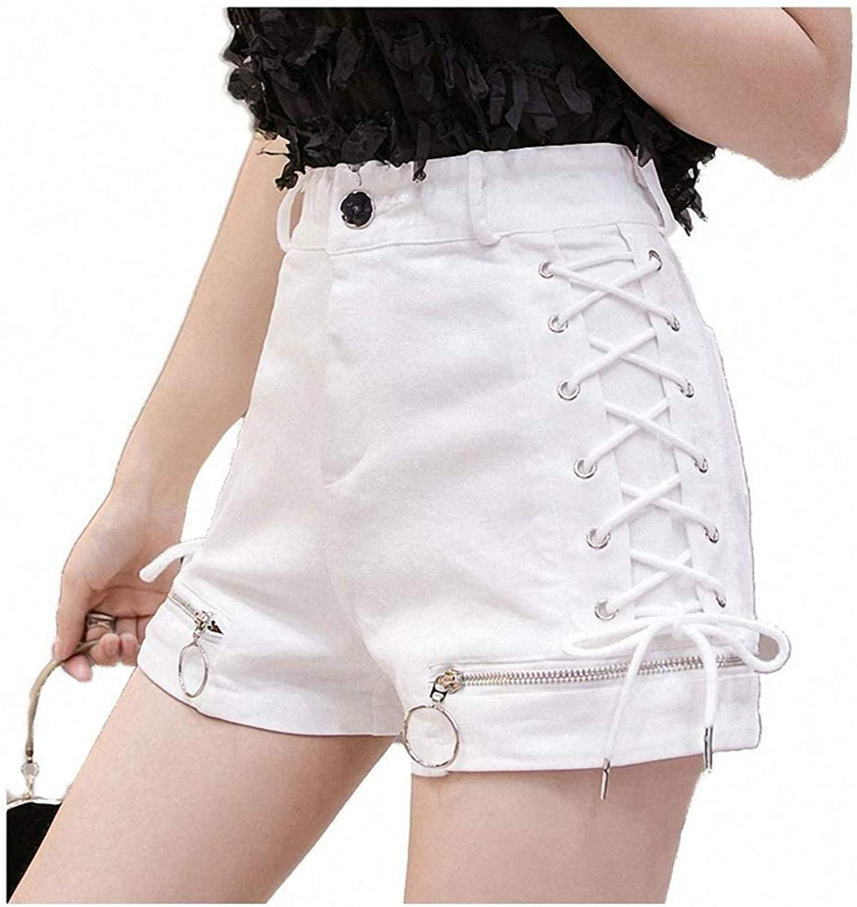Tayaho Denim Lace Up Shorts Zipper Design High Waist Womens Shorts