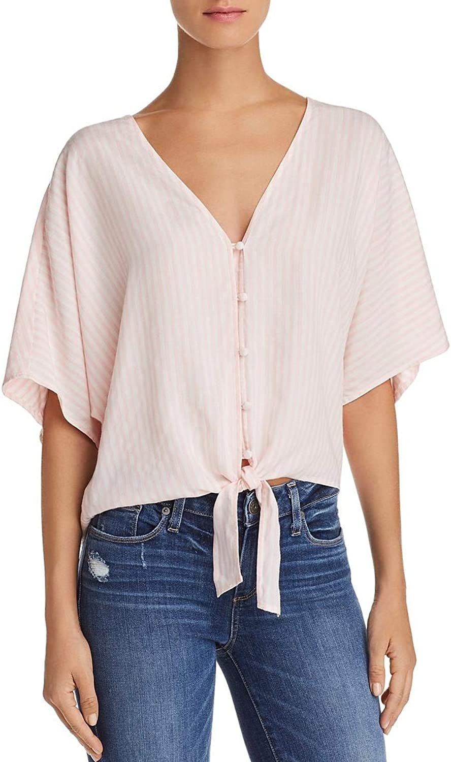 PAIGE Womens Baylee Striped Tie Front Blouse