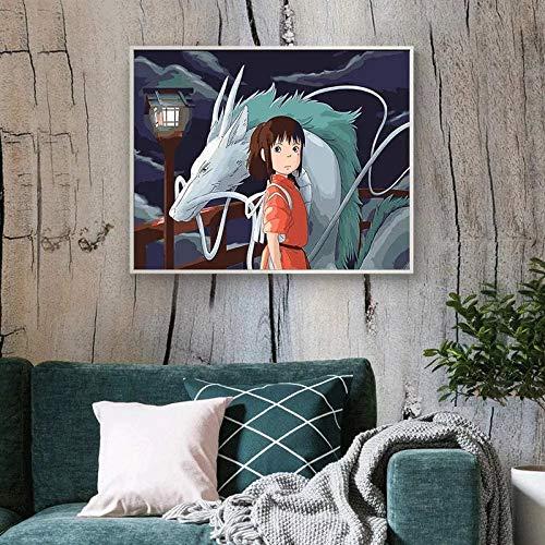 JHGJHK Dibujos Animados My Neighbor Totoro Anime Movie Manga Family Room Decoración Pintura (Imagen 1)