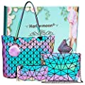 Holographic Geometric Tote Handbag Purse for Women girl Luminous Backpack Purse and tote bag set Crossybody Lady Purse (HLM-3PCSset)