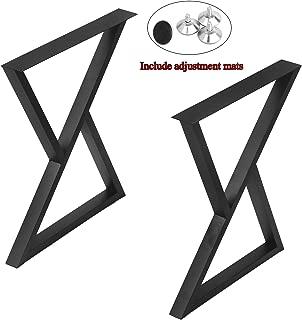 "MBQQ 2 Pcs Furniture Legs Rustic Decory Triangle Shape Table Legs,Heavy Duty Metal Desk Legs,Dining Table Legs,Industrial Modern, DIY Cast Iron Bench Legs(H28""xW24"")"