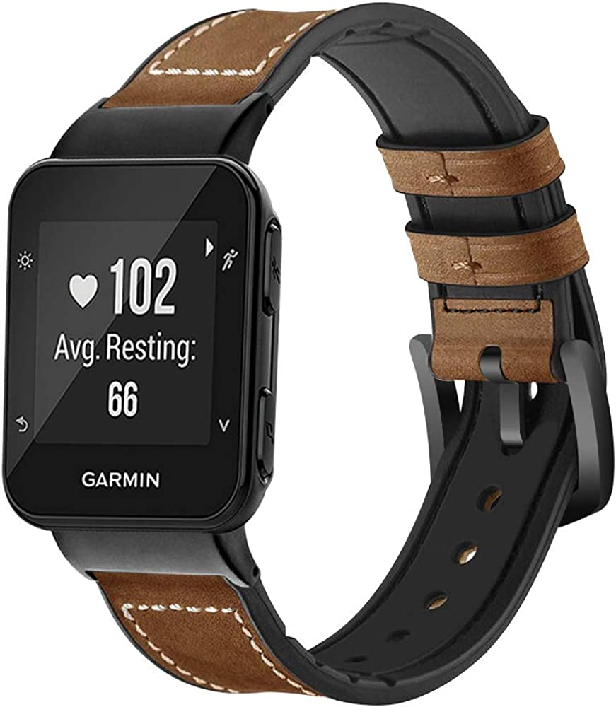 C2D JOY Leather & Silicone Mixed Strap Compatible with Garmin Forerunner 35/30 and Approach S10 Bands Replacement