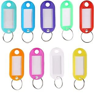 Rmeet Etiquetas con Llaveros Plástico,50 Pack Etiquetas de Colores Transparentes Llavero de Identificación con Ventana Etiquetas para Oficina 10 Colores
