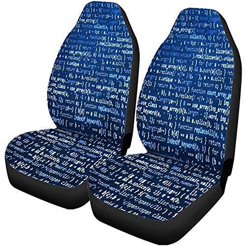 Auto Stoelhoezen Computer Programma Bron Code op Monitor Scherm Blauwe Kleur Set van 1 Beschermers Auto Fit voor Auto