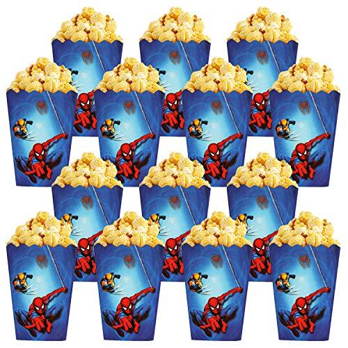 Qemsele Bolsas de palomitas de maíz, 30 Cajas de palomitas de maíz contenedores de Palomitas de maíz para fiestas de cumpleaños, noches de cine, carnaval, teatro y regalos de fiesta(Spiderman)