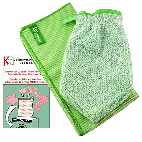 Jemako® Set grün Handschuh + Trockentuch 40 x 45 cm Fenster/Haushalt/Glas Plus 2 Stück K7plus® Wäschenetz/Wäschesack