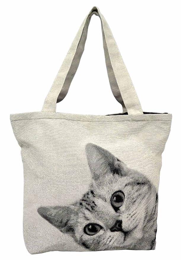 有名風が強い負担かわいい 猫プリントトートバッグ ネコ雑貨 ルックCAT