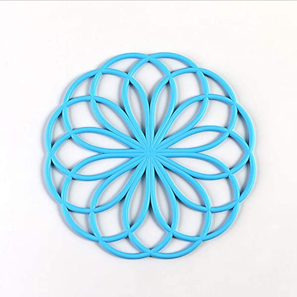 Yunzee Silicone Trivet Mat Hot Pot Holder Hot Pads For Table Countertop Non Slip Heat Resistant Modern Kitchen Hot Pads Blue