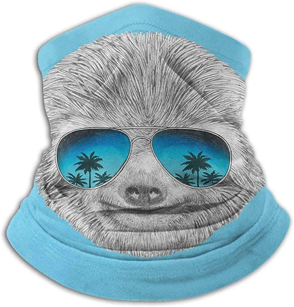 Face Bandanas Sloth Neck Gaiter Sunblock Face Scarf Portrait of Sloth with Mirror Sunglasses Exotic Palm Trees Hawaiian Beach Hipster Grey Blue Aqua