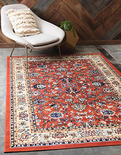 Unique Loom Kashan Collection Traditional Floral Overall Pattern with Border Terracotta Area Rug (5' 0 x 8' 0)