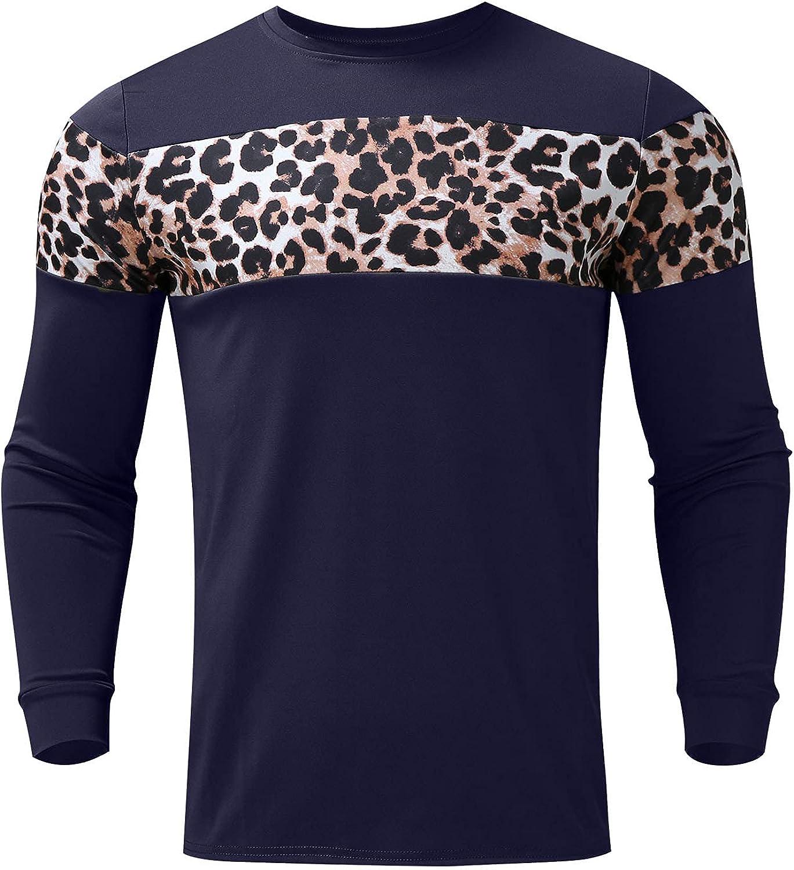 Huangse Autumn Slim Fit Leopard Stitching Pullover Shirt for Men Fashion Long Sleeve Round Neck Print T-Shirt Sweatshirt
