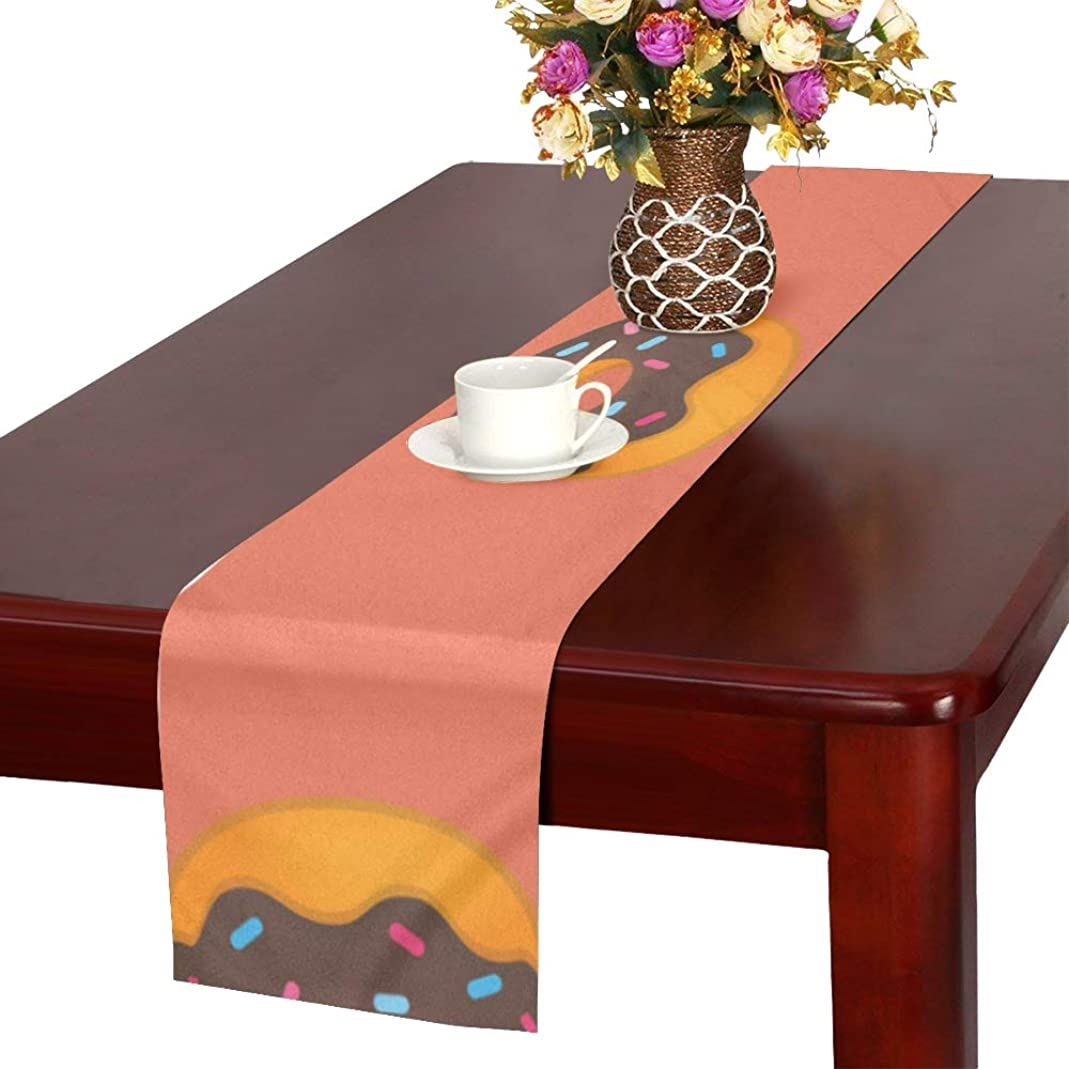 トチの実の木発明タッチLKCDNG テーブルランナー 甘いドーナツ クロス 食卓カバー 麻綿製 欧米 おしゃれ 16 Inch X 72 Inch (40cm X 182cm) キッチン ダイニング ホーム デコレーション モダン リビング 洗える
