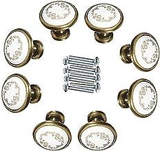 8 Stks Keramische Deurknop Vintage Bloem Paddestoel Gevormde Brozne Antiek Lade Trek Handvat Kast