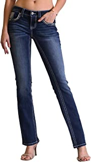 Women's Paisley Embellished Yoke-Detail Junior Fit Bootcut Jeans | JB-81314