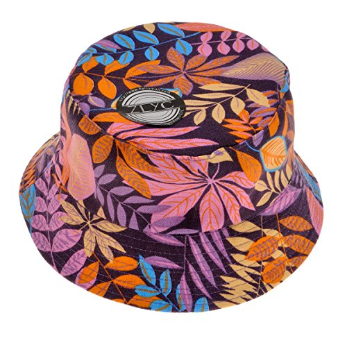 ZLYC Unisex Blumen Pflanze Regenwald-Druck Leinwand Sonnenhut Strandhut Fishermütze (Lila)