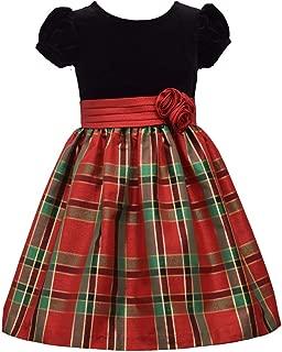 Short Sleeve Christmas Dress with Black Velvet and Red Tartan Plaid
