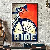 zuomo Póster de Bicicleta Vintage para Montar, Bicicleta de Ciclismo Retro, Lienzo, Pintura, Bicicleta de Carreras, decoración artística de Pared, 50x70 cm, sin Marco