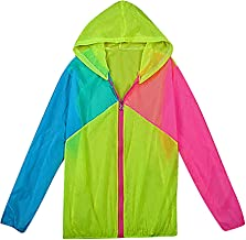 Maze, Women's Panelled Neon Color Zip Up Relaxed Long Sleeve Thin Hooded Jacket