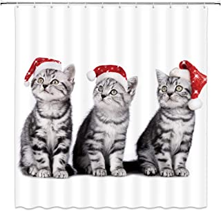 XZMAN Christmas Cat Shower Curtain Cute Gray Kitten Wearing Christmas Hat Lovely Pet Kids Merry Christmas Fabric Bathroom Decor Curtain with Hooks 70 X 70 Inch