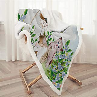 Zara Henry Cat Flannel Blanket, Cute Kittens in Flower Meadow Field Happy Cats Family with Butterfly Kids Cartoon Print Multi Wool Blanket