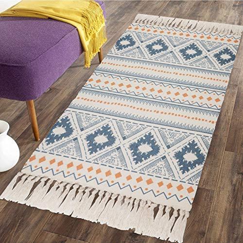 SHACOS Blau Teppich Baumwolle Waschbar Teppiche Bedruckt Flachgewebt Mandala Teppich mit Quasten Vintage Baumwollteppich für Küche, Keller, Wohnzimmer 60x90 cm