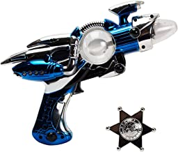 Imprints Plus Galactic 5-Piece Bundle with Outer Space Light-Up Toy Ray Gun and Clip-On Silver-Tone Plastic Badge for Dress Up and Imaginative Play (Batteries Included)