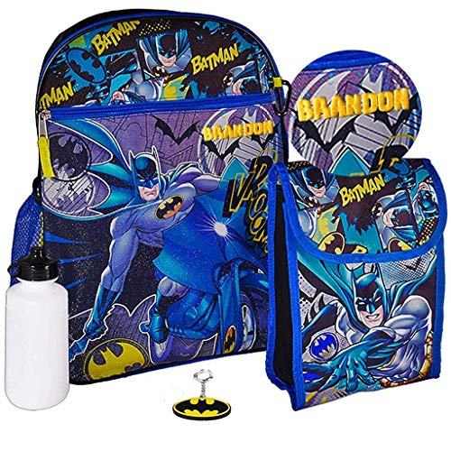 Personalized 16' Backpack with Added Lunch Bag Pencil Case or Carabiner Clip. (Personalized 16' Batman Backpack with Added Lunch Bag Key Ring Water Bottle and Carabiner Clip)