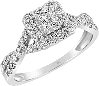Brilliant Expressions 10K White Gold 1/2 Cttw Conflict Free Diamond Square Halo Twist Band Engagement Ring (I-J Color, I2-I3 Clarity)