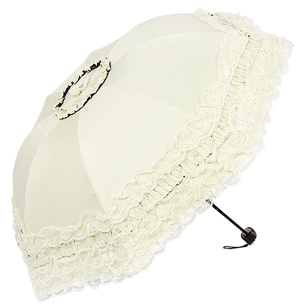 Honeystore Princess Lace Ultraviolet-Proof Folding Umbrella Anti-uv Dome Parasol Style1 Ivory