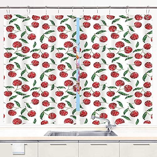 YUDILINSA Cortinas para Ventana de Cocina,Estilo de mosaico grunge Cerezas Frutas dulces maduras de temporada Cosecha de huerto fresco,Cortinas Cortas con Decor de Ganchos para Baño,2 Piezas,140x100cm