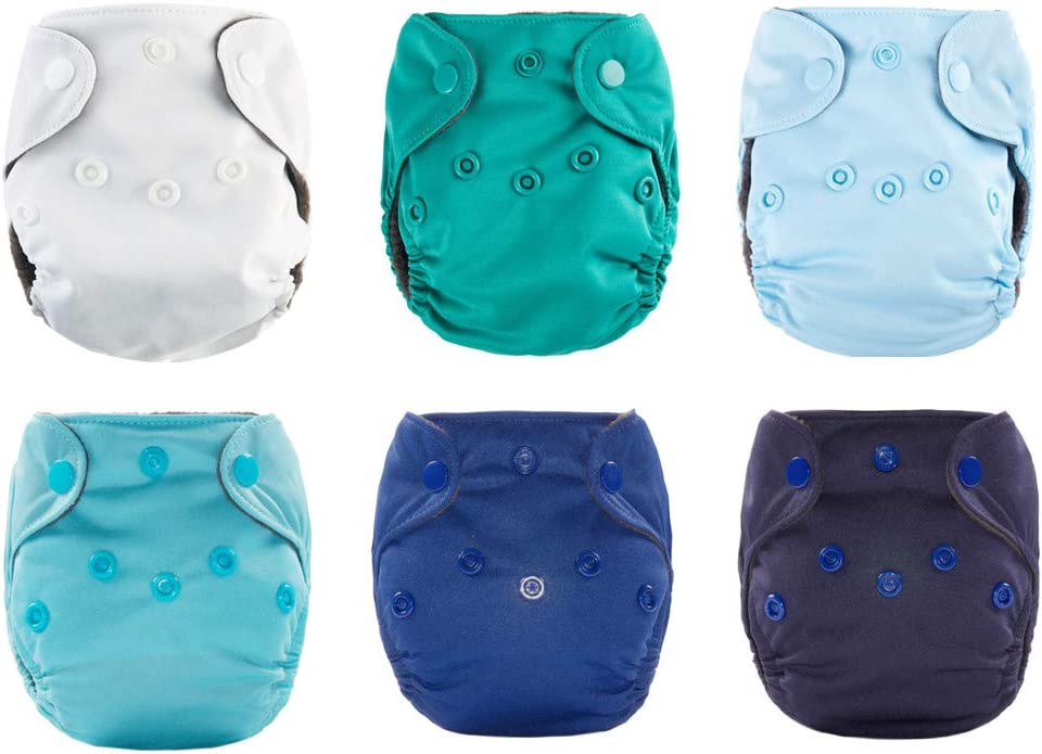 Nature Color Newborn Cloth Diaper All in One with Umbilical Cord Snap 6 Pack Thank u Mom