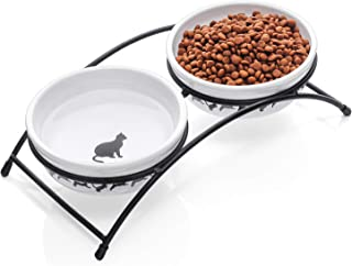 Y YHY Ceramic Raised Pet Cat Bowls,  12 Ounces Elevated Food or Water Bowls,  Double Cat Dishes,  Gift for Cat,  White