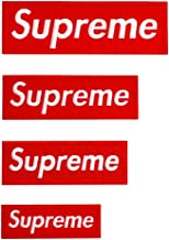 4 Pack Red Supreme Patches Sew on or Iron on Multi Size Patch Embroidered DIY Applique Badge Decorative