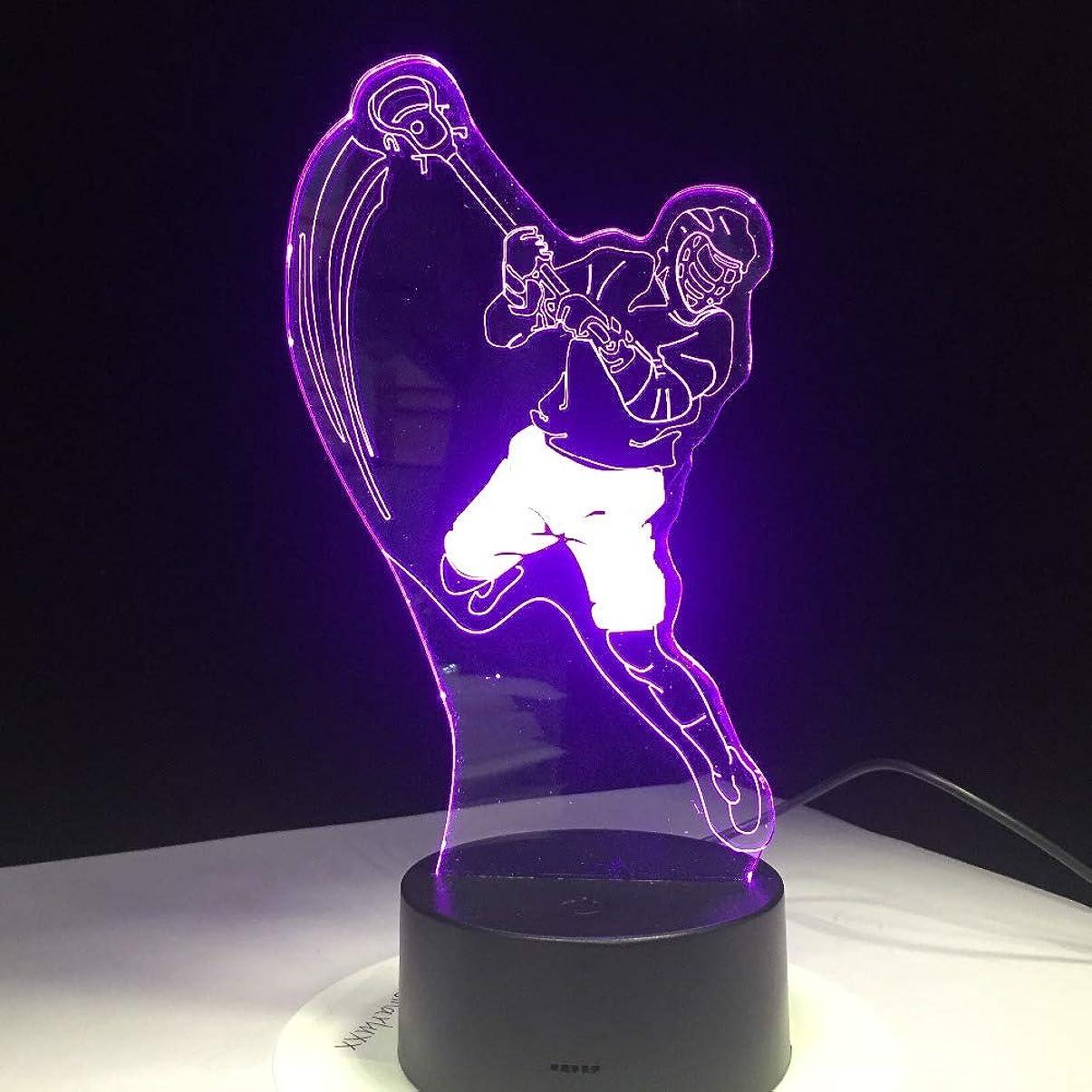 立場オセアニアがんばり続けるアイスホッケースポーツモデリング3dテーブルランプ7色変更ledナイトライトusb寝室睡眠照明スポーツファンギフト用家の装飾