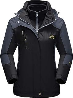 MAGCOMSEN Women`s Snow Jacket 3-IN-1 Water Resistant Snowboard Ski Jacket Warm Fleece Winter Coat Parka