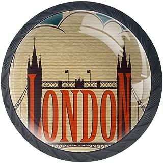 Idealiy London Landmark Tower Bridge UK Flag Cabinet Door Knobs Handles Pulls Cupboard Handles Drawer Wardrobe 4pcs