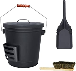 Denmay Seau à cendres avec couvercle, pelle et balai à main, seau en fer galvanisé de 5,2 gallons pour foyers, foyer, poêl...