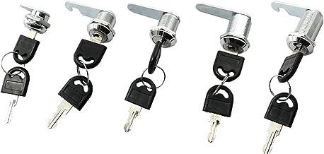 CAILI 5 stuks brievenbussloten, meubelsloten, sluitvaksloten, ladesloten, elk slot heeft een andere sleutel met 2 sleutels.