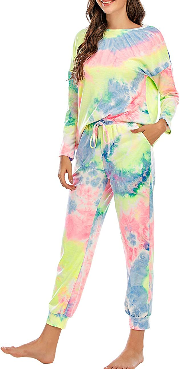 Sofkiny Tie-Dye 2 Piece Outfits for Women Casual Long Sleeve T-Shirt with Sweatpants Tracksuits